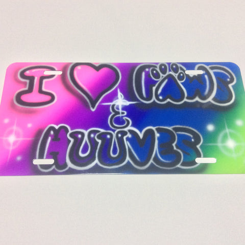 """I love Paws and Hooves"" License Plate TAG - Perfection Airbrushing"