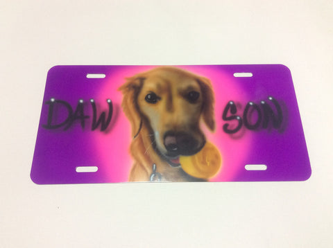 PET Portrait License Plate TAG - Perfection Airbrushing