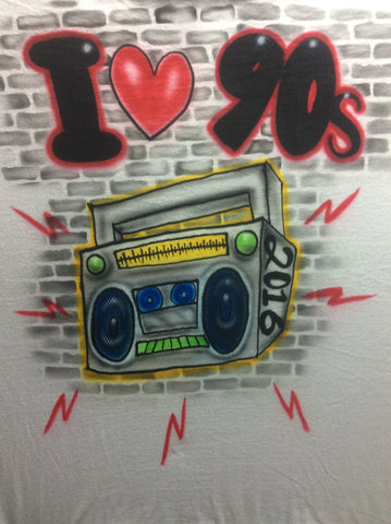 I Heart 90's BOOMBOX T-Shirt or Hoodie - Perfection Airbrushing