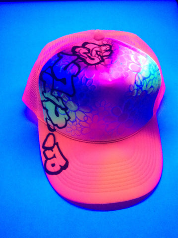 BLACK LIGHT Graffitti Flower hat