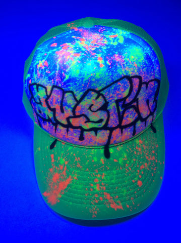 BLACK LIGHT Graffitti Paint Splatter hat - Perfection Airbrushing