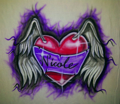 Airbrushed Winged Heart Design on TShirt or Hoodie Youth or Adult - Perfection Airbrushing