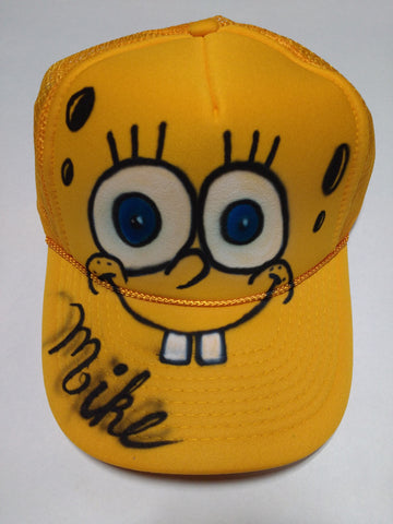 Airbrushed Spongebob Squarepants Trucker Hat Snapback YOUth and Teen/Adult sizes