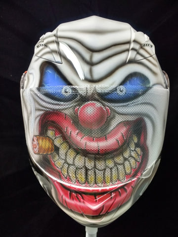 Evil Clown Motorcycle Helmet with VIEWTHRU Shield Graphic - Perfection Airbrushing