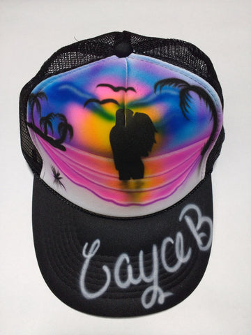 Couples Beach Scene Design Hat - Perfection Airbrushing