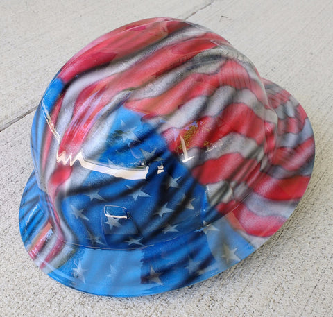 Old American and Texas Flag Full Brim Style Hard Hat - Perfection Airbrushing