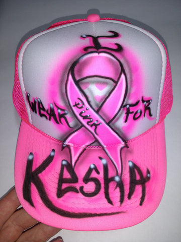 I Wear PINK For Breast Cancer Awareness hat - Perfection Airbrushing