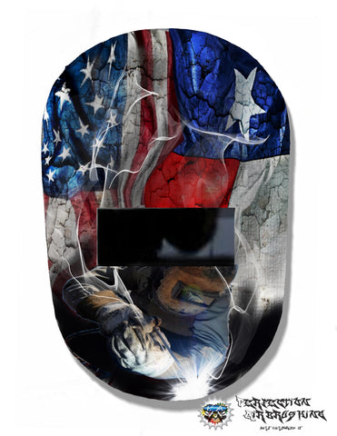 American and Texas flag WELDING Helmet - Perfection Airbrushing