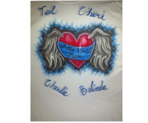 Airbrushed Winged Heart World's Best Mom Design TShirt or Hoodie - Perfection Airbrushing
