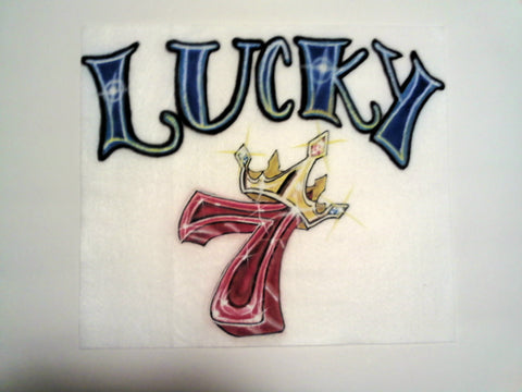 Lucky #7 Design on TShirt or Hoodie Youth or Adult - Perfection Airbrushing