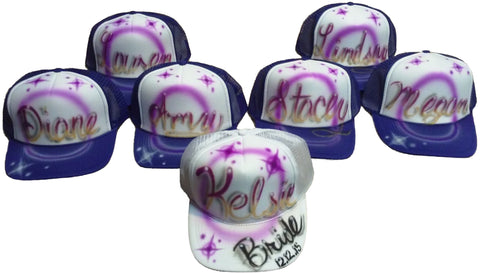 Airbrushed LoT of 7 BACHELORETTE Party Hats - Perfection Airbrushing
