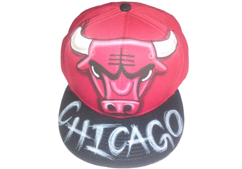 Airbrushed Chicago Bulls Sports Team hat