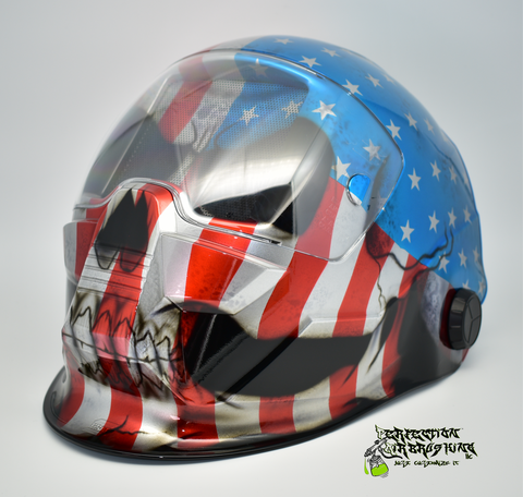 Chrome Patriot Skull ESAB Sentinel A50 WELDING Helmet - Perfection Airbrushing