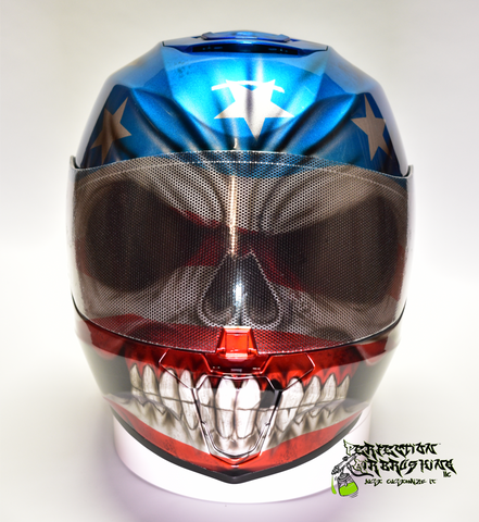 Patriot SKULL Simpson Racing or Motorcycle Helmet - Perfection Airbrushing