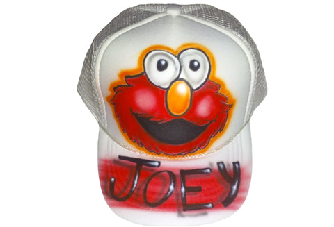 Airbrushed Custom Elmo Trucker Hat Snapback YOUth and Teen/Adult sizes