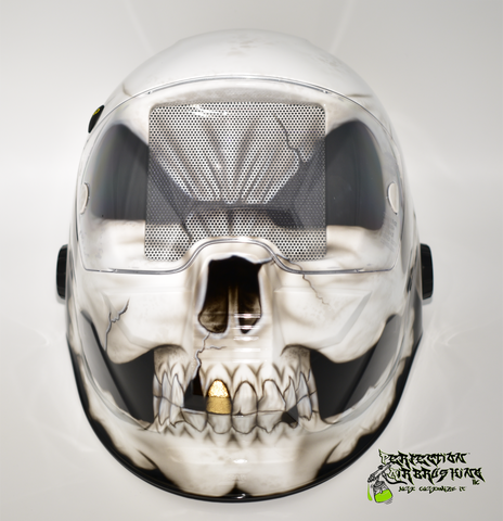Gold Tooth Skull ESAB Sentinel Welding Helmet - Perfection Airbrushing