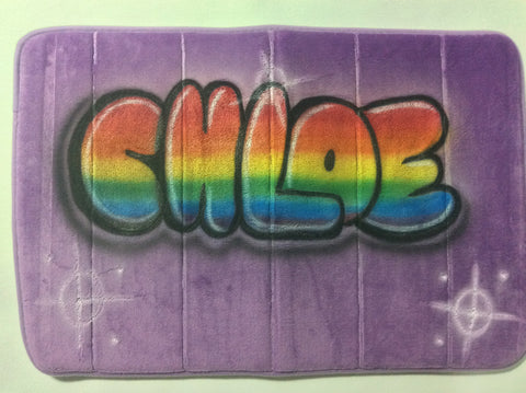 Airbrushed Rainbow Color Name Design on Microfiber Memory Foam Mat - Perfection Airbrushing