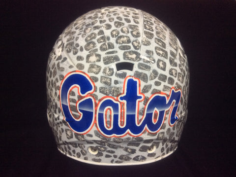 Customizable Airbrushed White Gator Skin Helmet - Perfection Airbrushing