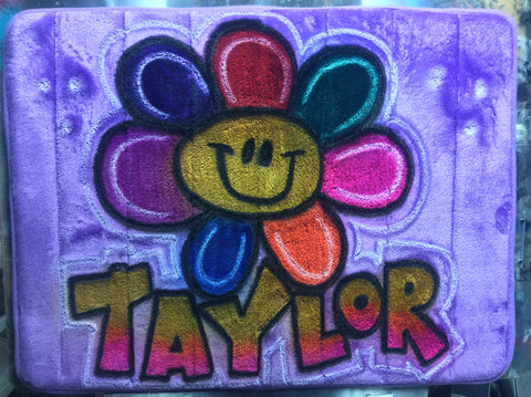 Airbrushed Rainbow Color Flower Name Design on Microfiber Memory Foam Mat - Perfection Airbrushing