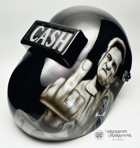 Johnny Cash Themed Welding Helmet - Perfection Airbrushing