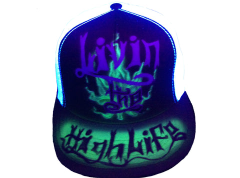 BLACK LIGHT Livin the High Life hat - Perfection Airbrushing