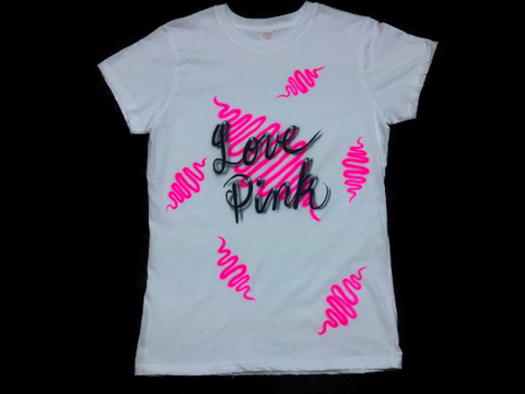 Airbrushed LOVE PINK Tshirt or Hoodie - Perfection Airbrushing