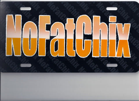 "Airbrushed Custom ""NOFATCHICKS"" License Plate TAG - Perfection Airbrushing"