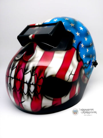 Patriot Skull Pipeline Edition Welding Helmet - Perfection Airbrushing