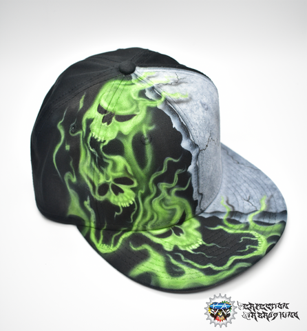 Airbrushed Smoking Skulls Hat