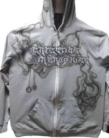 """Speak No Evil"" Smoking Skulls Zip-Hoodie - Perfection Airbrushing"