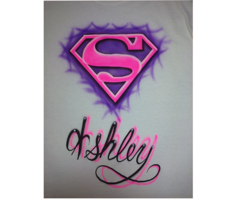 Airbrushed Superman Name Design on T Shirt or Hoodie Youth or Adult - Perfection Airbrushing