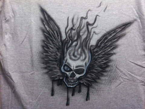 Smoking Winged Skull Design TShirt or Hoodie - Perfection Airbrushing