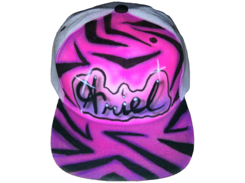 Airbrushed Zebra Print hat, cap, trucker, baseball