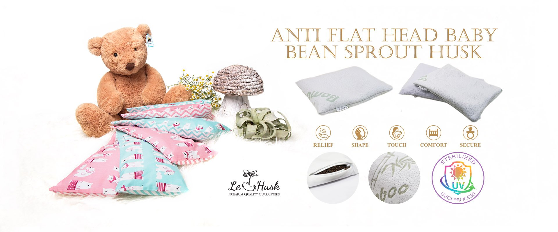 Ergonomic Bean Sprout Husk Pillow
