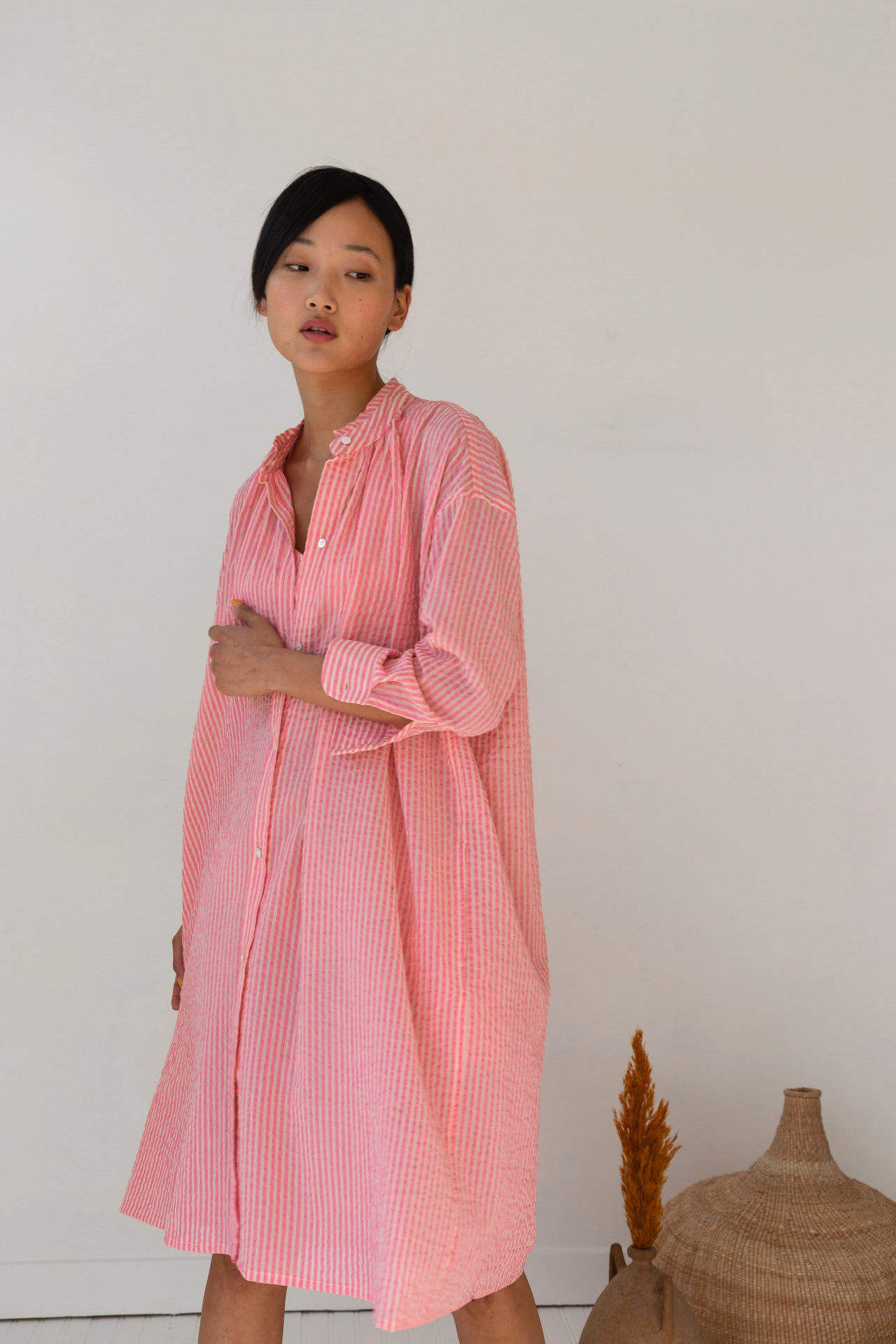 AURORA DRESS | PINK GAUZE STRIPE
