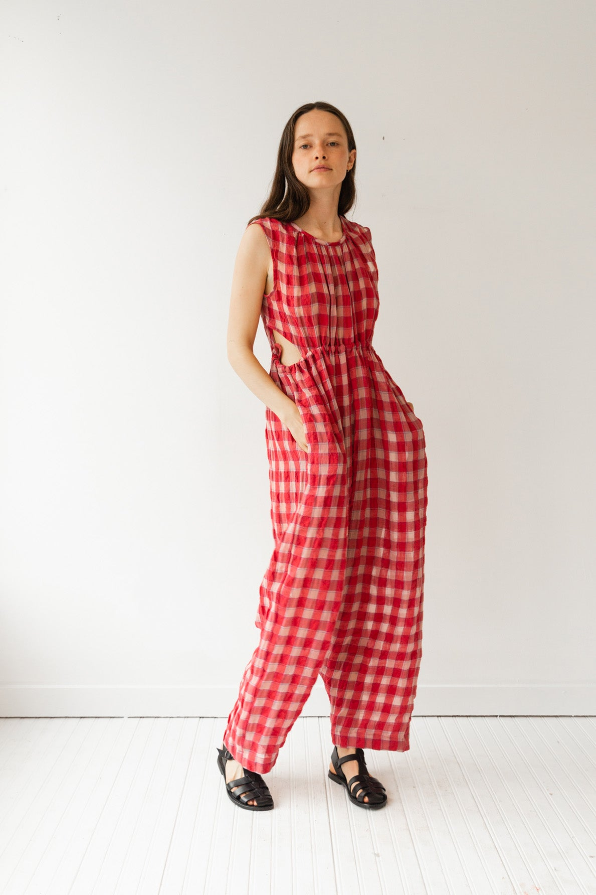 GOA JUMPSUIT | RED GAUZE PLAID