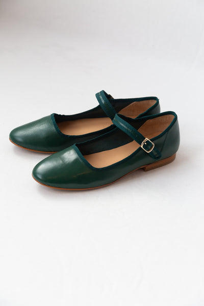 ELLIE MARY JANES | GREEN NAPPA