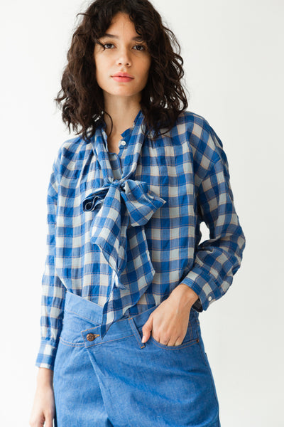 DAISY TOP | ROYAL GAUZE PLAID
