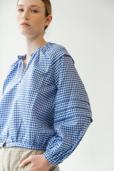 LEO TOP | BLUE GINGHAM
