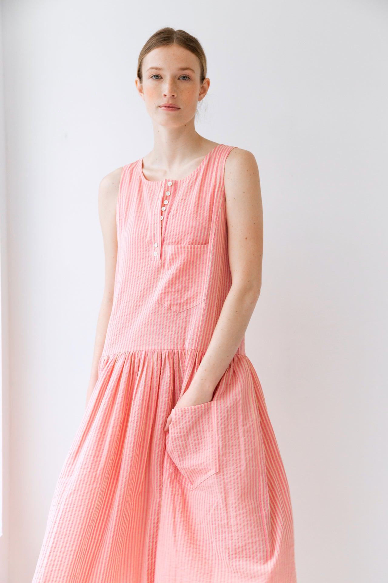 MYRTLE DRESS | PINK GAUZE STRIPE