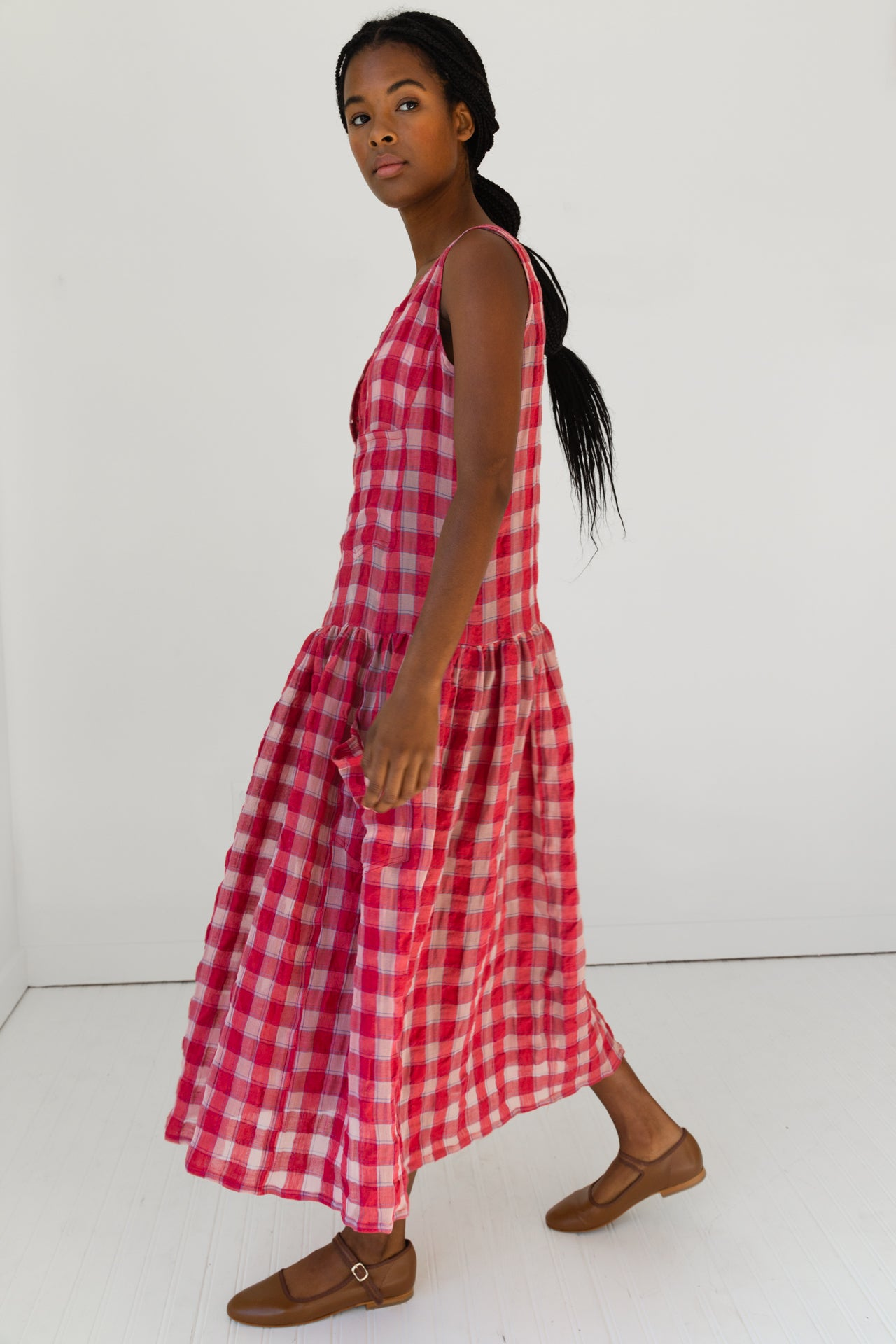 MYRTLE DRESS | RED GAUZE PLAID