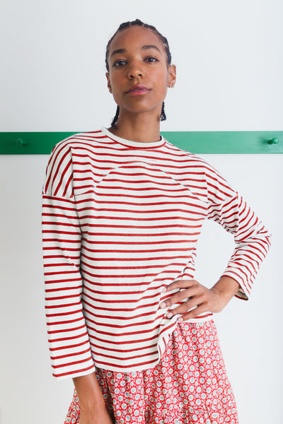 MILES TOP | RED BRETON STRIPE JERSEY