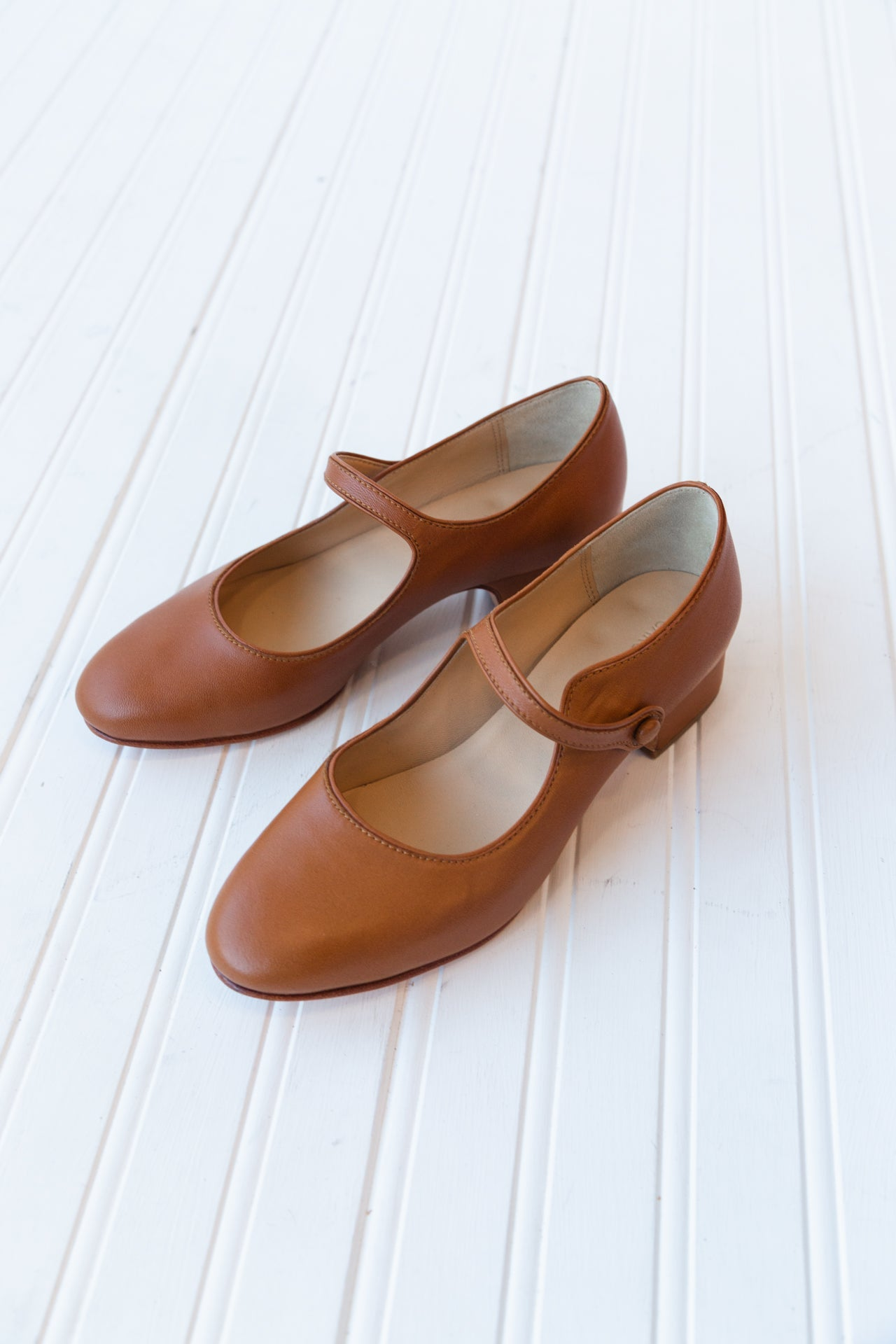 NANCY HEELED MARY JANES | COGNAC NAPPA