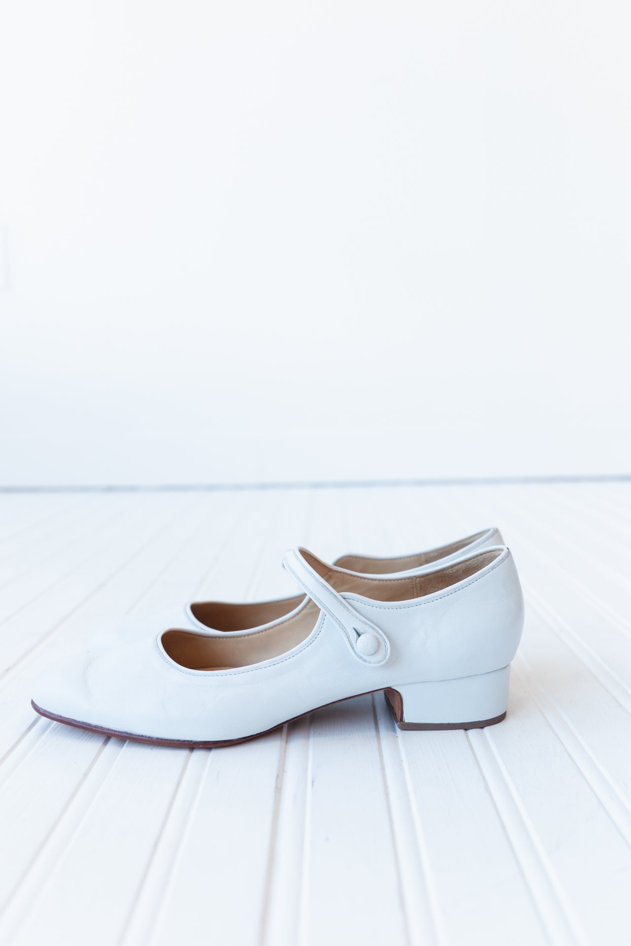 NANCY HEELED MARY JANES | WHITE NAPPA