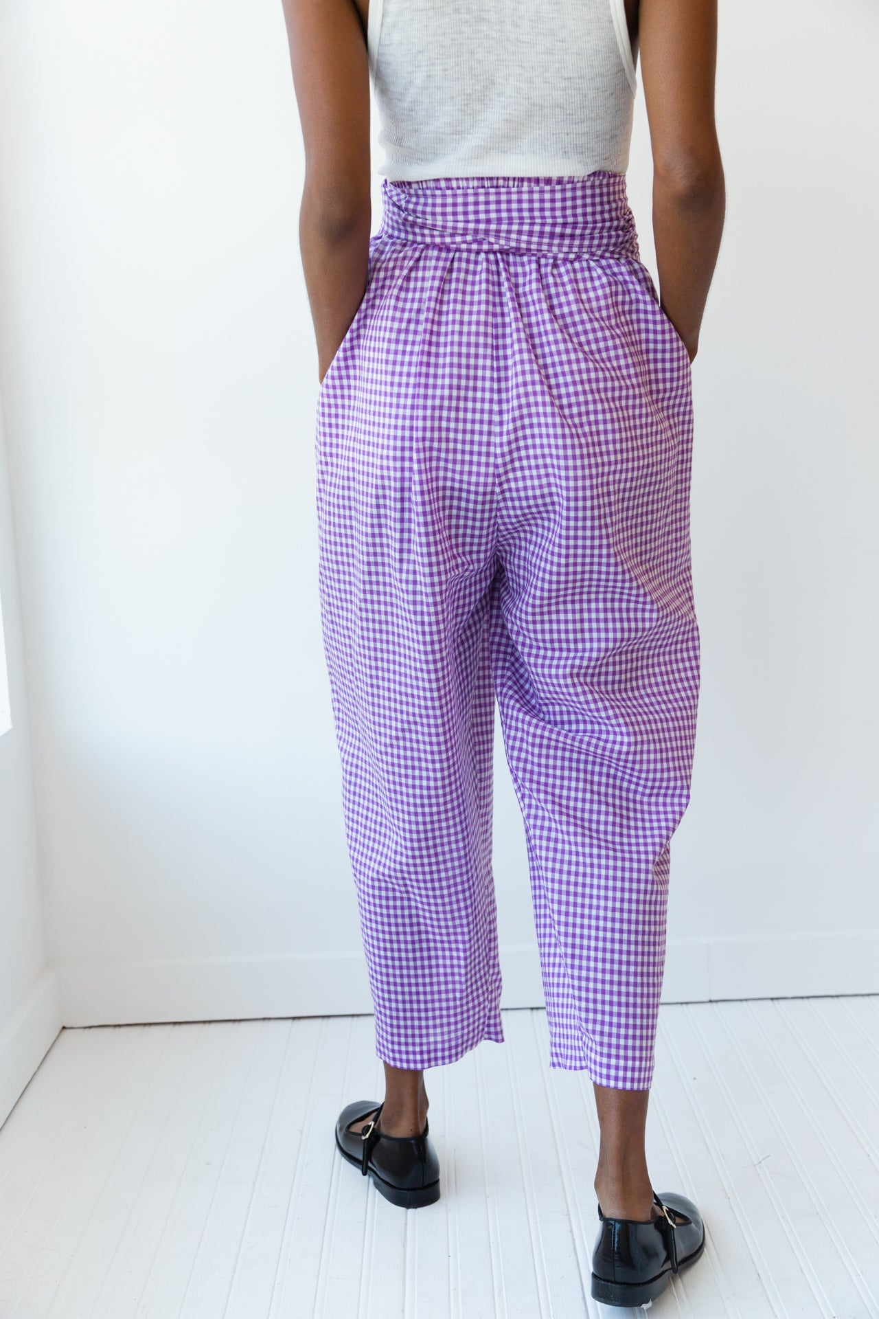 NICOLE PANT | LILAC GINGHAM