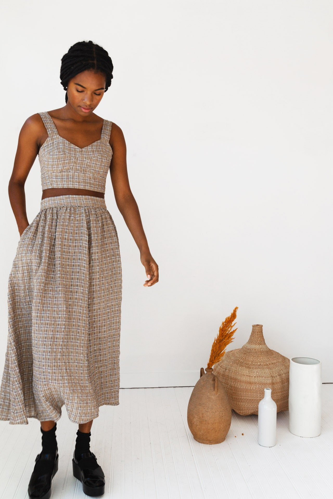 RITA SKIRT | KHAKI GAUZE PLAID