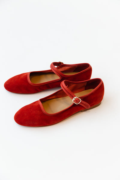 ELLIE MARY JANES | RED SUEDE