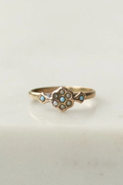 SEED PEARL + TURQUOISE FLOWER RING | VINTAGE