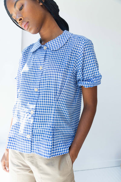 WESTLEY TOP | BLUE GINGHAM