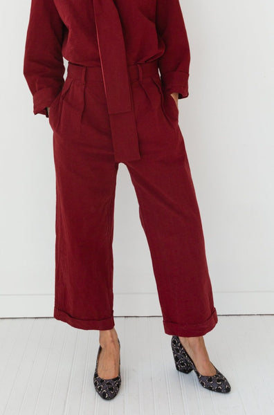 WILLIAM PANT | CRANBERRY COTTON LINEN TAFFETA